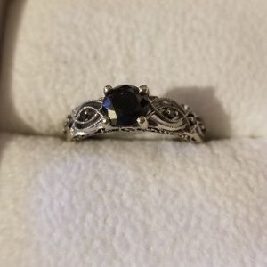 Beautiful 10K white gold black diamond ring